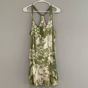 Green Dress with White Flowered Pattern